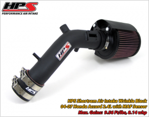 HPS - 2003-2007 Honda Accord 2.4L (w/MAF Sensor) HPS Shortram Air Intake (Wrinkle Black)