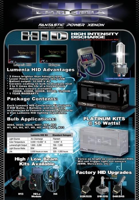 Lumenia HID Xenon Conversion Kit for H13 Bulbs (HI & LOW)