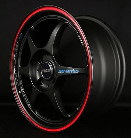 Buddy Club - Buddy Club P1 Racing SF Challenge Wheels 15X6.5 4X100 ET42 Matte Black/Red (Set Of 4)