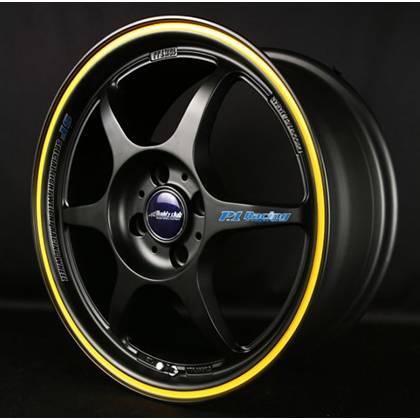 Buddy Club - Buddy Club P1 Racing SF Challenge Wheels 16X7.0 4X100 ET42 Matte Black/Yellow (Set Of 4)