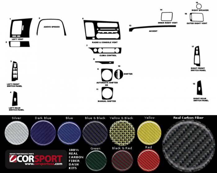 CorSport - 2006-2011 Honda Civic Sedan CorSport Carbon Fiber Dash Trim Kit