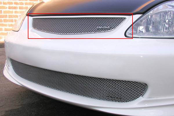 Grillcraft - 2002-2005 Honda Civic SI Grillcraft MX Series Upper Grille (Silver)