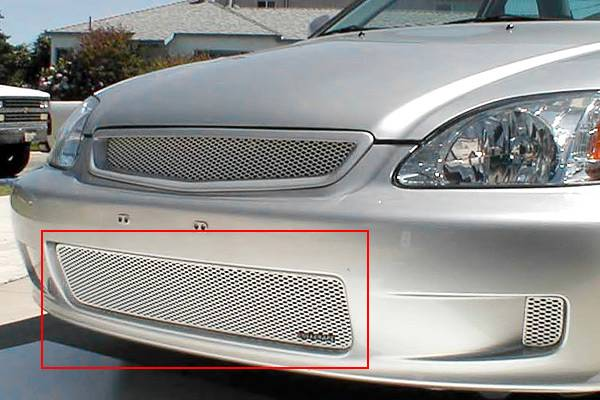 Grillcraft - 1999-2000 Honda Civic Grillcraft MX Series Lower Grille (Silver)
