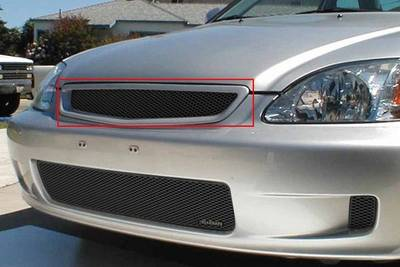 Grillcraft - 1999-2000 Honda Civic Grillcraft MX Series Upper Grille (Silver)