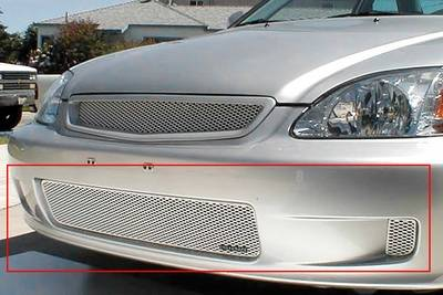 Grillcraft - 1999-2000 Honda Civic Grillcraft MX Series 3pc Lower Grille (Silver)