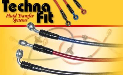 Techna-Fit - 2001-2005 Honda Civic DX/HX Sedan (w/ Rear Drum) Techna-Fit Stainless Steel Brake Lines
